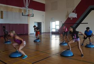 Students working out in a gym