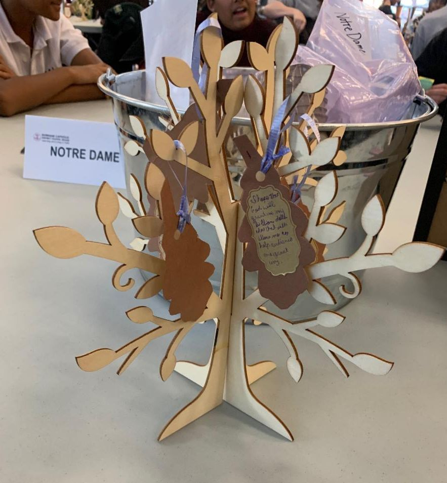A wooden tree on a table with messages of hope written by students