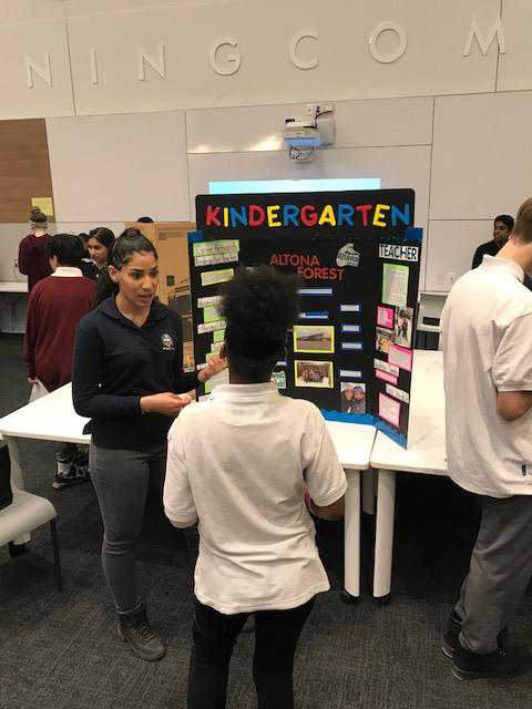 Elementary students talking to secondary students about their Cooperative Education placements.