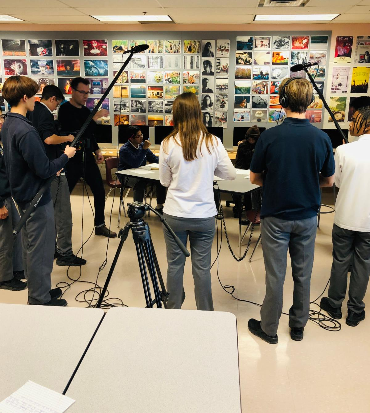Students filming a short movie in a day.