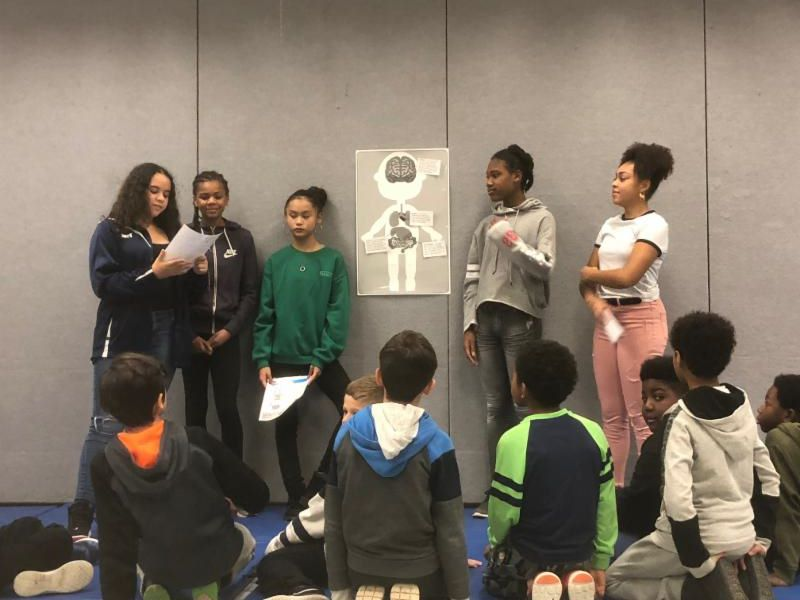 Five female student presenting on the benefits of keeping our bodies healthy