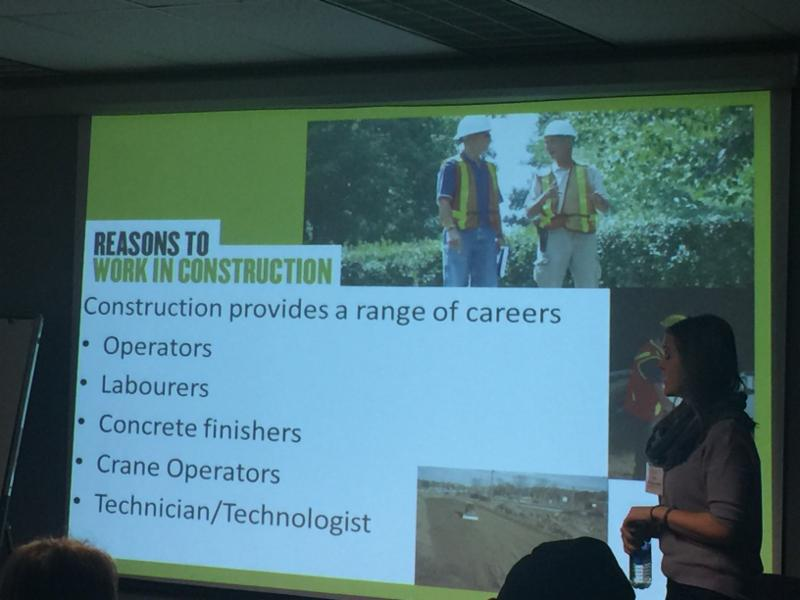 Slide promoting careers in Construction