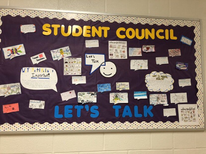 Messages on a bulletin promoting Let's Talk about Mental Health