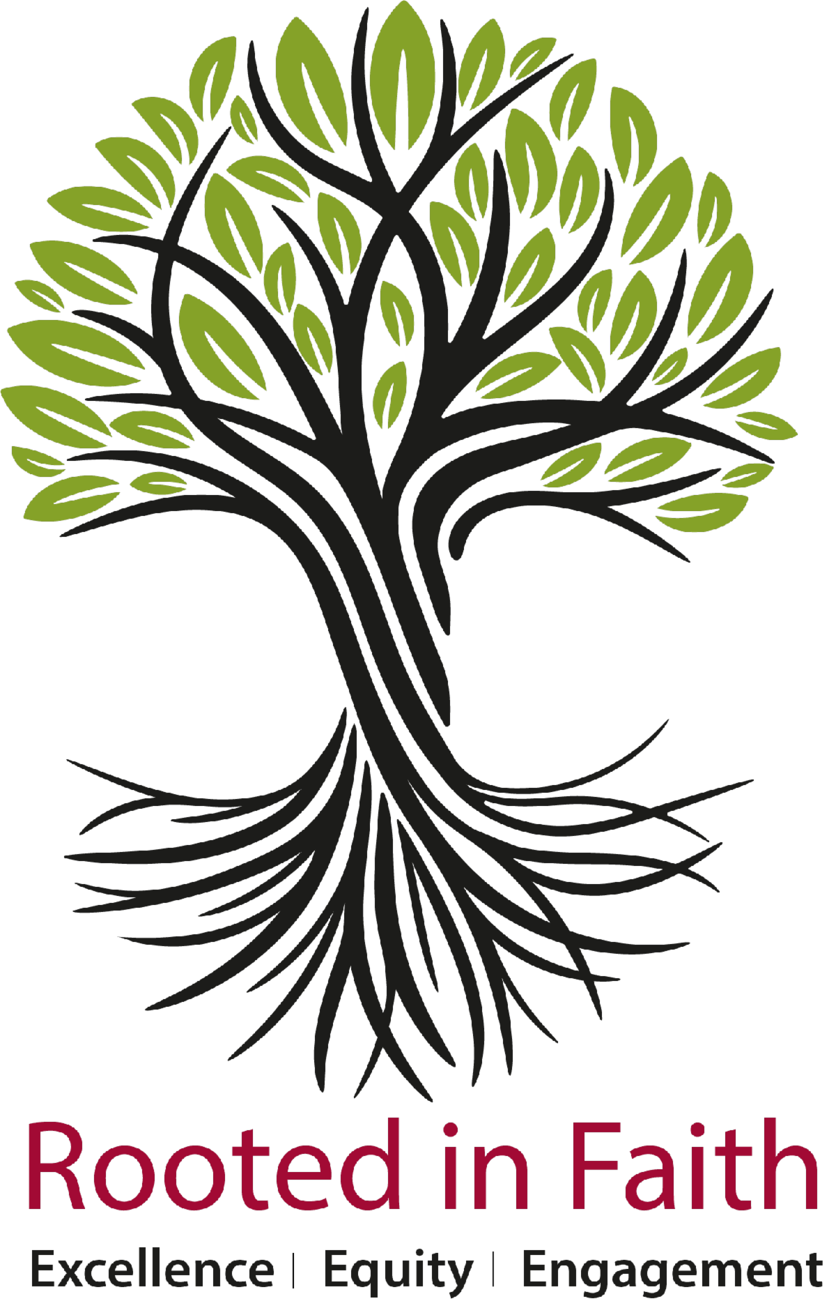 Rooted in Faith logo Excellence, Equity and Engagement