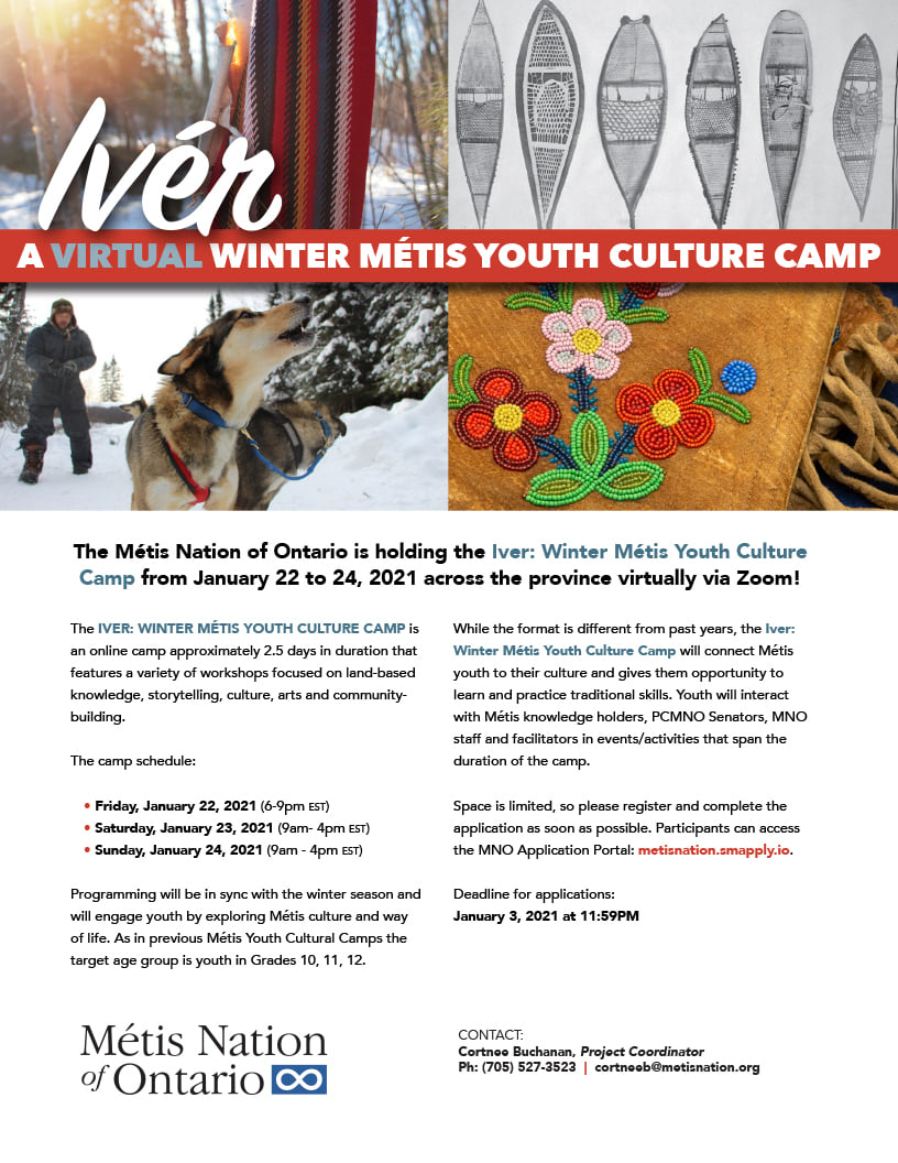 Flyer promoting a free Metis virtual camp for students