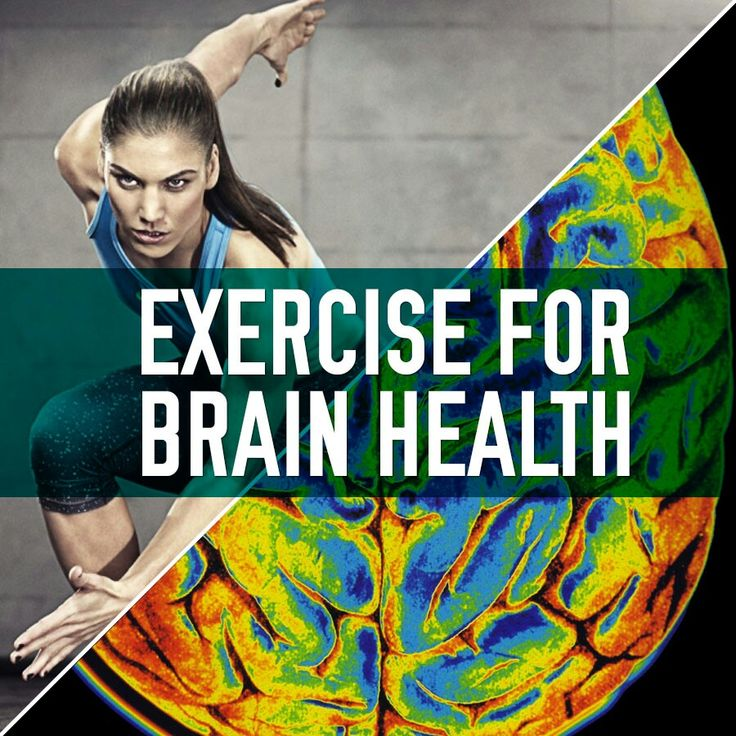Female exercising and picture of brain activity. Exercise for Brain Health