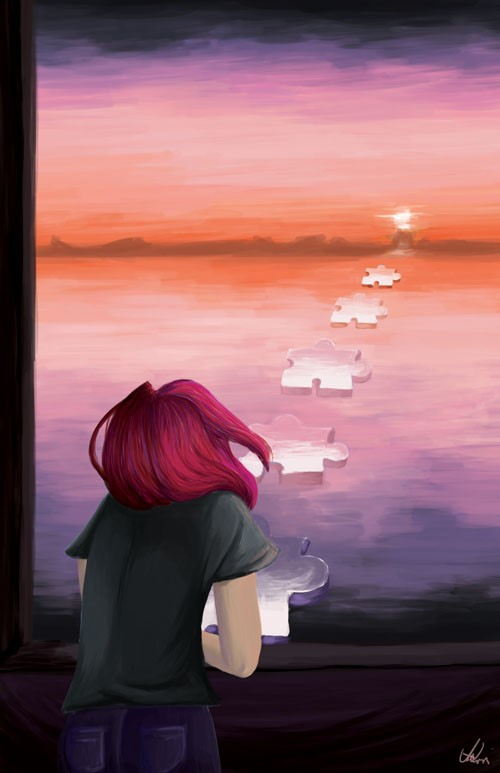 Painting of a girl looking at a sunset with puzzle pieces