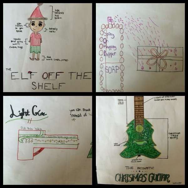 For holiday designs created by students -Elf on the shelf, spray that wraps gifts, gun that shots CHristmas lights and Christmas tree guitar