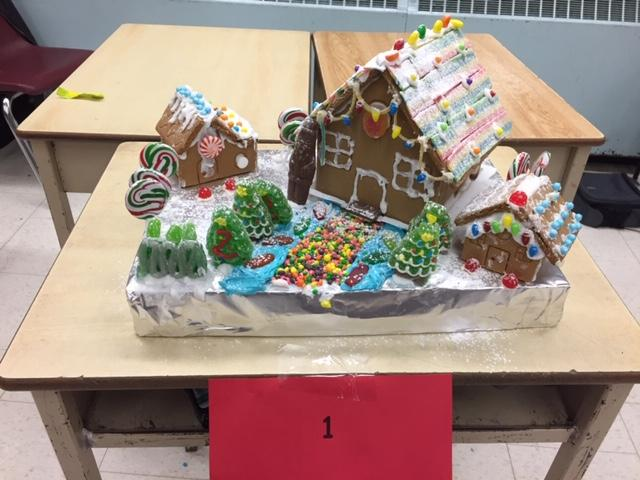 Decorated and fully assembled gingerbread houses