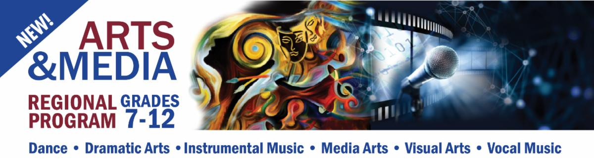 Regional Arts and Media Program banner promoting dance, drama, instrumental music, media arts, visual arts and vocal music