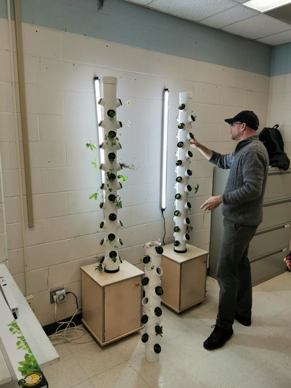 Male adult checking the aeroponic gardening system