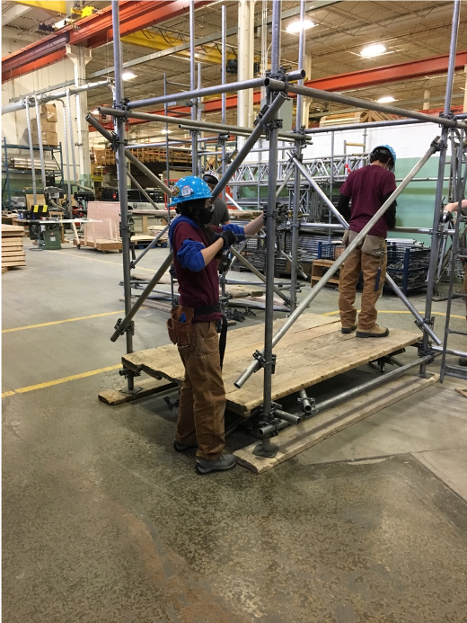 Alyssa working at the carpentry union training facility in Woodbridge