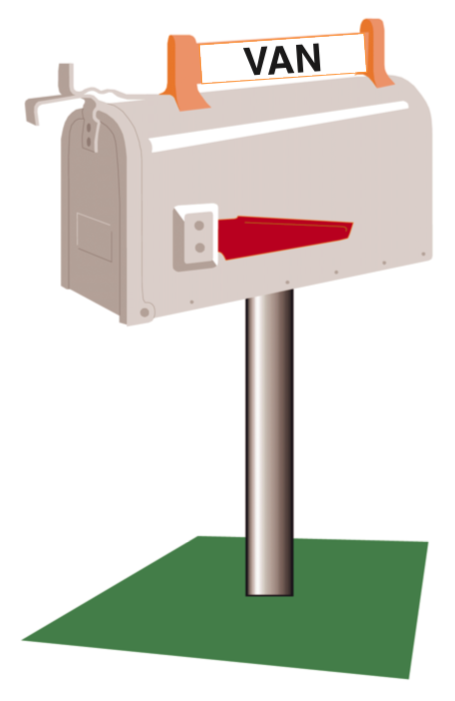 Drawing of a mailbox