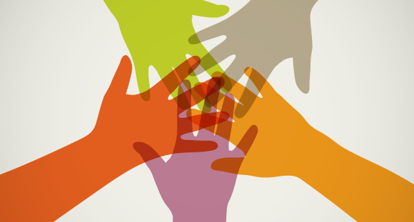 Overlapping hands, let's all work together