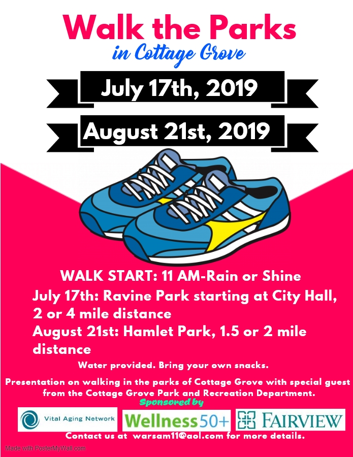 The flyer for Walk the Parks in Cottage Grove.