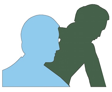 Silhouettes of two men
