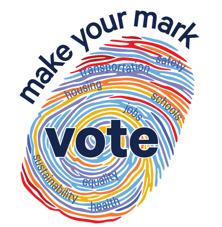 colorful fingerprint with Make your mark and Vote written around it