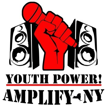 Two music stereos on the left and right side of a red hand holding a red microphone. Text reads_ YOUTH POWER_ AMPLIFY-NY