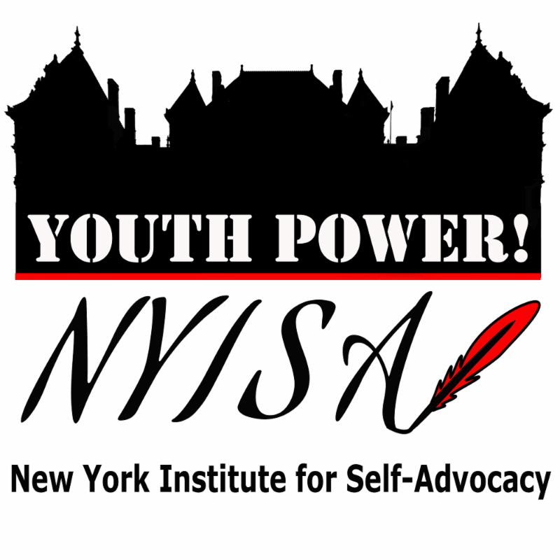 YOUTH POWER_ logo infront of black background of an institute. New York State Institute for Self-Advocacy logo beneath YP_ logo and institute. _New York State Institute for Self-Advocacy_ in text below logos and institute background.