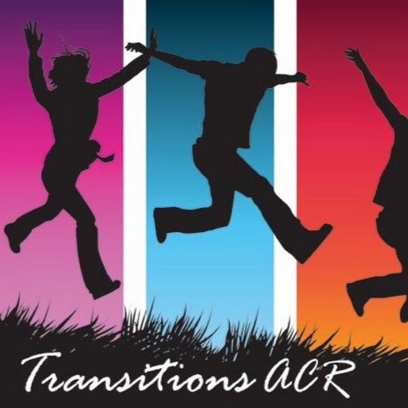 People jumping in front of a multi-colored background. Text Reads_ Transitions ACR