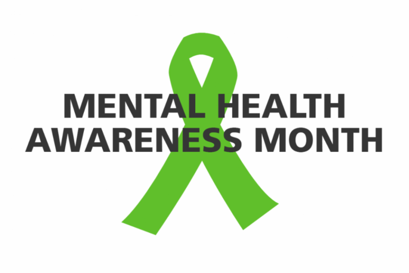 white background with green mental health ribbon behind black text that reads mental health awareness month