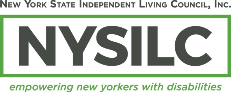 At the top _New York State Independent Living Council_ Inc. Beneath that states the abbreviation _NYSILC._ Below the abbreviation states _Empowering New Yorkers with Disabilities._