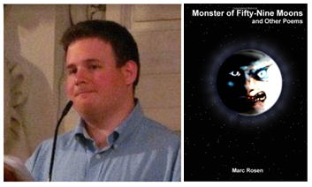 Photo of Marc Rosen on the left and the cover of Monster of Fifty Nine Moons on the right