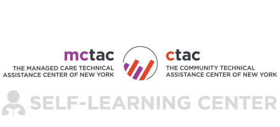 Text reads_ mctac The managed Care Techincal Assistance Center of New York_ ctac The Community Techincal Assistance center of New York_ Self-Learning Center