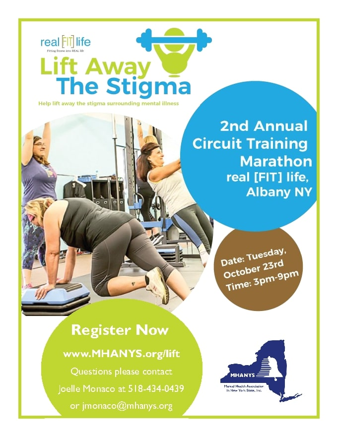 Image of 3 woman working out. To the right is the event name. Below that is the date and time_ October 23rd_ 3-9pm. To the left below the image is the registration information_ www.MHANYS.org_lift. Questions_ please contact Joelle Monaco at 518-434-0439 or jmonaco_mhanys.org.