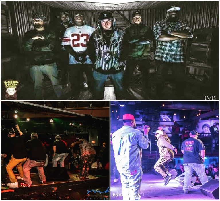 3 image collage of hip hop artists. Top image is 6 artistsstanding and  facing the camera_ bottom images are them performing