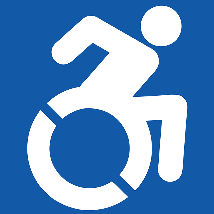 Infamous handicap sign_ person in a wheelchair in front of blue background.