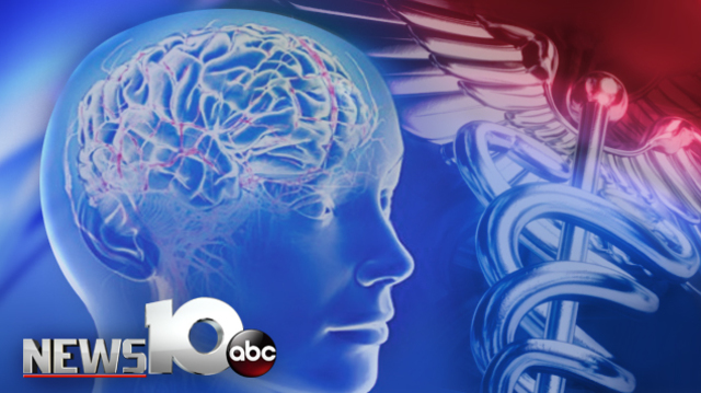A picture of a human head and the mental health logo. Text Reads_ NEWS10 abc