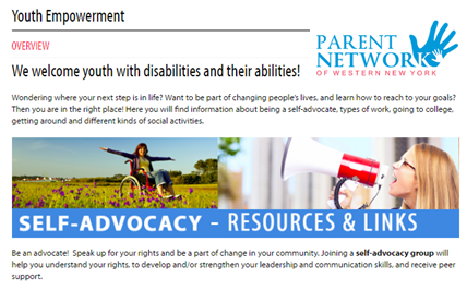 Screenshot of the Youth Empowerment page with the Parent Network of Western New York in the upper right corner.