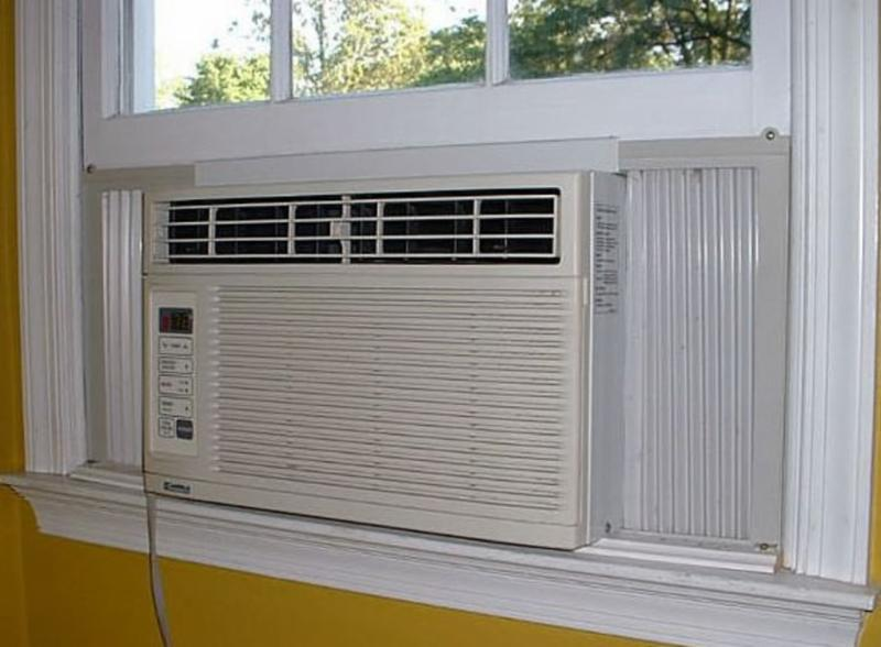An air conditioning unit in a window.