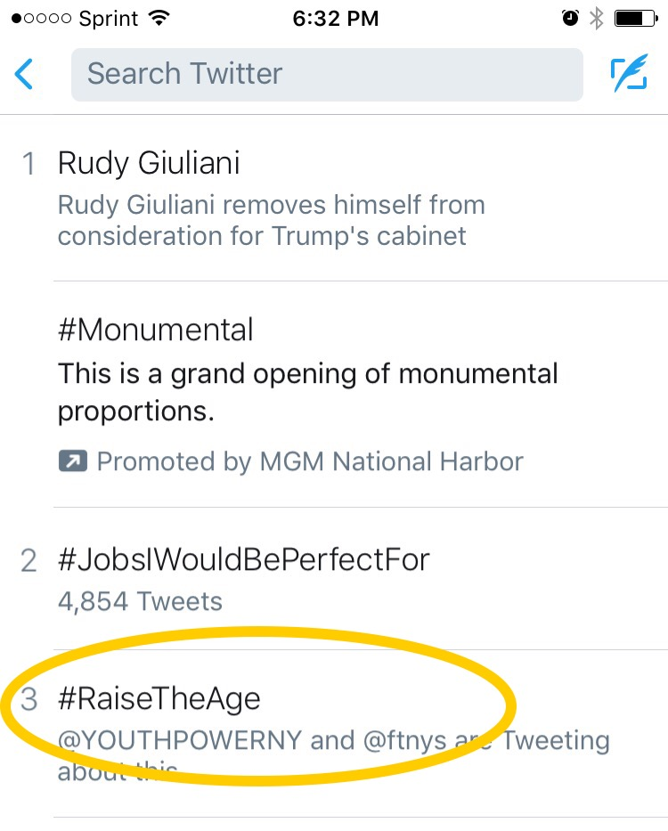 Screen shot of twitter showing the top three tweets. #RaisetheAgeis number 3.