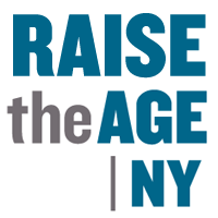 Raise the Age NY in blue with white background.
