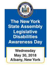 Text reads_ The New York State Assembly Legislative Disabilities Awareness Day Wednesday May 30_ 2018 Albany_ New York
