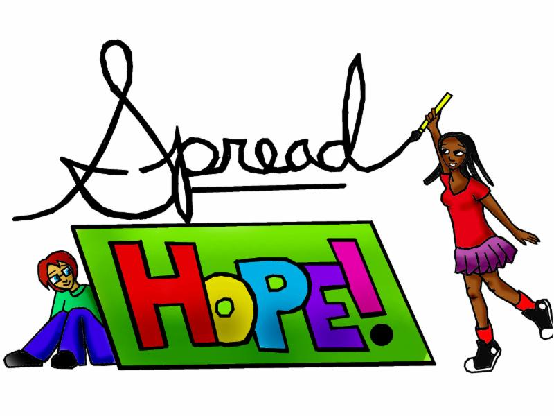 Spread Hope graphic with a girl to the right holding the end of the word spread and a youth in the left bottom corner behind hope.