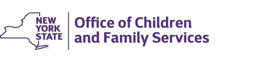 Office of Children and Family Services logo_ purple text with nys image to the left of the text