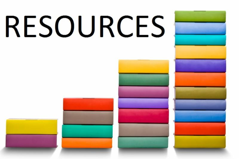The word resources with books stacking below it in rainbow colors. book stacked looks like different levels