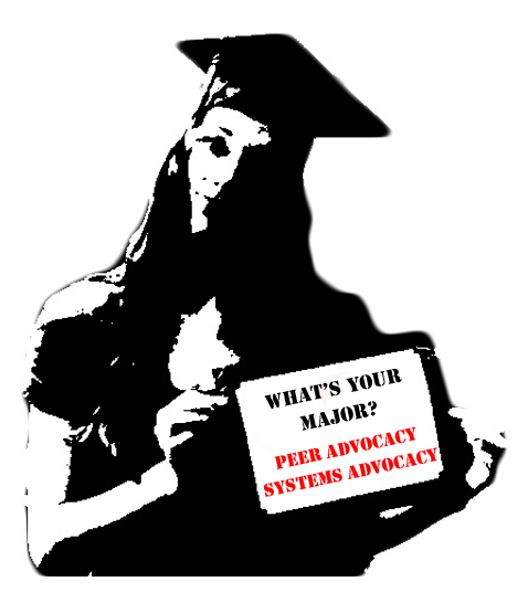 silhouette of a student at uyp holding a sign