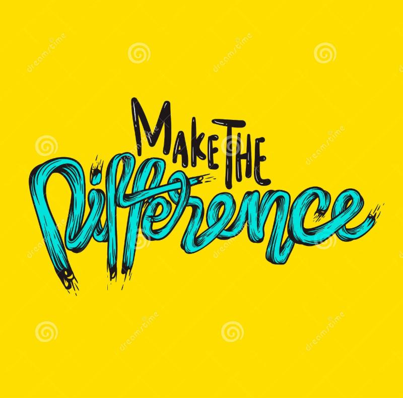 yellow background with text that says make the difference