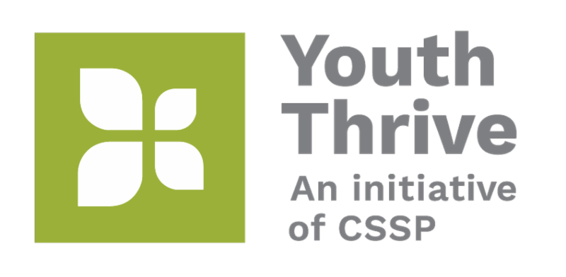 Youth Thrive_ an initiative of CSSP logo. Green background with white flower to the left of the text.