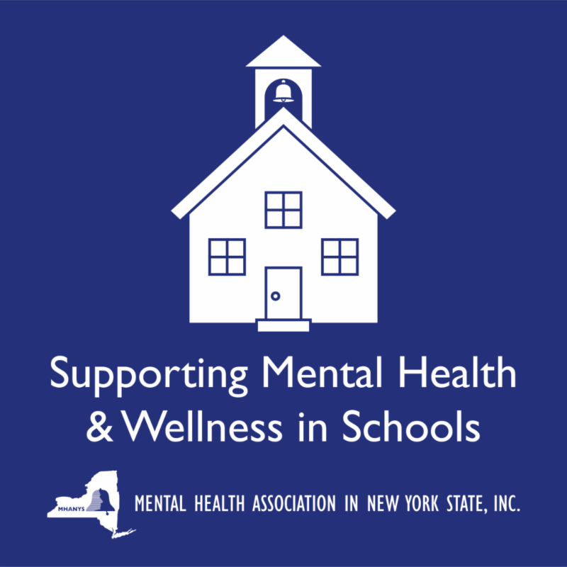 MHANYS - Supporting Mental Health _ Wellness in Schools logo. Text in white_ dark blue background all centered.