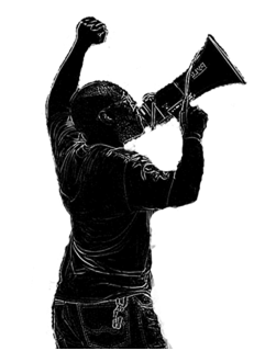 Silhouette of guy with megaphone and fist in air