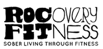 ROCovery fitness_ sober living through fitness logo. black text with white background
