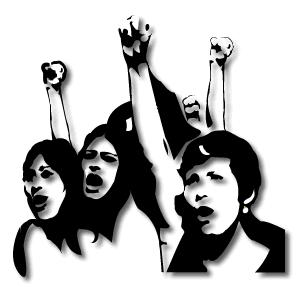 YP Graphic of 3 youth with their fists in the air. Black and white.
