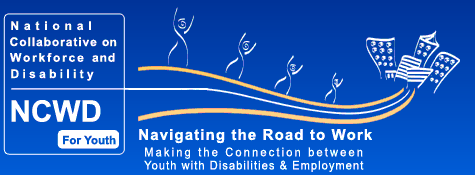 People with their arms up on a road to a group of buildings. Text Reads_ National Collaborative on Workforce and Disability NCWD For Youth Navigating the Road to Work Making the Connection between Youth with Disabilities _ Employment