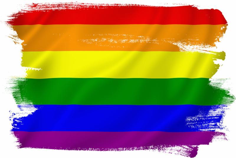 pride flag painted across image