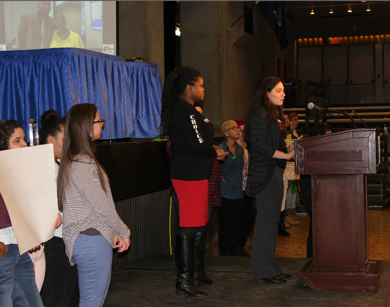 Domonica Jeffress and Azaria Wittekind on speaking at the podium alongside youth rally participants